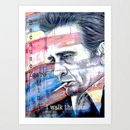 "Johnny Cash Painting ""I Walk The Line"" Art Print"