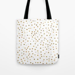 Girly Gold Dots Confetti White Design Tote Bag