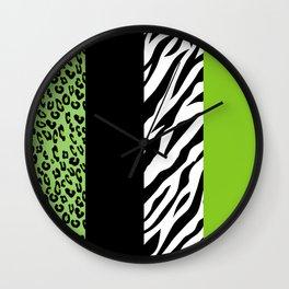 Animal Print, Zebra Stripes, Leopard Spots - Green Wall Clock