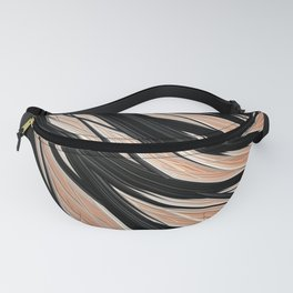 RAPT ebony black wisps on peach texture Fanny Pack