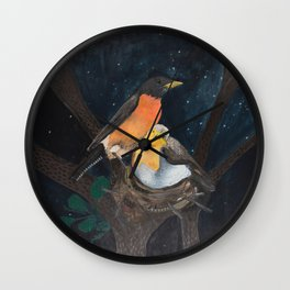 Robins in Nest Wall Clock