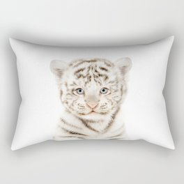 Baby White Tiger Cub Portrait Rectangular Pillow