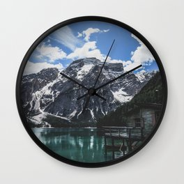 A magnificent morning at an Italian lake in the Dolomites. Wall Clock