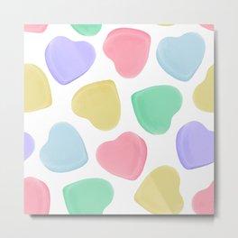 Candy Conversation Hearts Pattern Metal Print