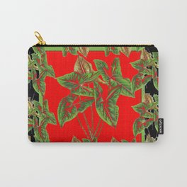 Decorative  Tropical Botanical Green Foliage Red-Black Art Carry-All Pouch