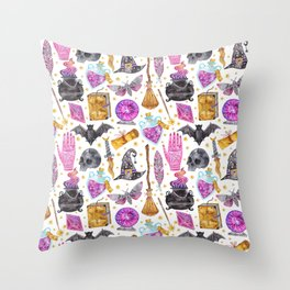 Pink gold black watercolor hand painted halloween pattern Throw Pillow