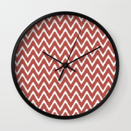 Watermelon Red Southern Cottage Ikat Chevrons Wall Clock