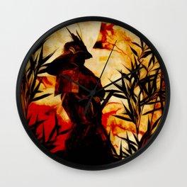 Samurai before battle Wall Clock
