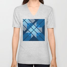 Abstract Geometric Blue Plaid Design Unisex V-Neck