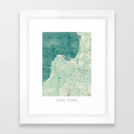 Cape Town Map Blue Vintage Framed Art Print