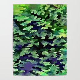 Foliage Abstract Camouflage In Forest Green and Black Poster