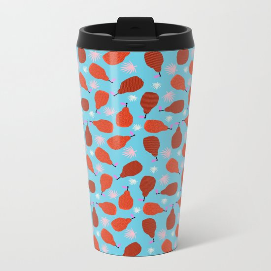Legit - pears pattern print retro pattern throwback nature minimal modern abstract bright neon 80s Metal Travel Mug
