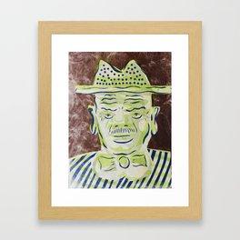 Green Face Man with Hat Cartoon Face Framed Art Print