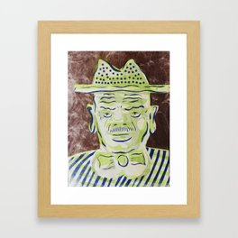 Green Face Man with Hat Cartoon Face Framed Art Print