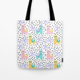 Purple Heart Llama Colorful Pattern Print Tote Bag