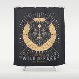 Wild & Free Wolf – Gold & Grey Shower Curtain