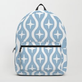 Mid century Modern Bulbous Star Pattern Pale Blue Backpack