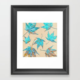 Japanese maple leaves - turquoise and gold on unbleached paper Framed Art Print