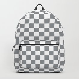 Gray and White Checker Pattern Backpack
