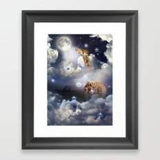 Shoot For The Moon (Giraffe In The Clouds) Framed Art Print