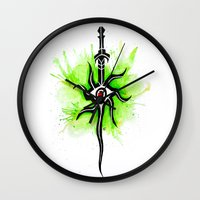 dragon age inquisition Wall Clocks featuring Dragon Age Inquisition - Inquisitor Symbol by Salzburn Designs Shop