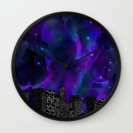 Starry Skyline Neck Gator Blue City Skyline Wall Clock