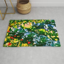 Abstract Garden Low Poly Geometric Triangles Rug