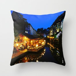 Colmar is still more beautiful in the night - Fine Arts Photography Throw Pillow