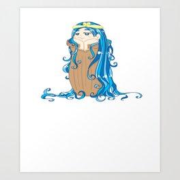 Zodiac - Aquarius Daydreaming Girl Art Art Print