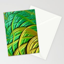 patterns green yellow string Stationery Cards
