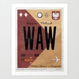 Vintage Warsaw Poland Luggage Tag Poster Art Print