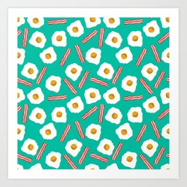 eggs and bacon breakfast food fight apparel and gifts teal Art Print