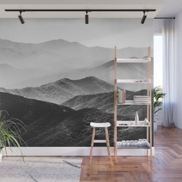 Glimpse - Black and White Mountains Landscape Nature Photography Wall Mural