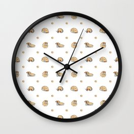 Roly Poly Party! Peach on White Wall Clock