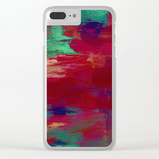 Crimson Overflow - Abstract, red, crimson, green, purple oil painting Clear iPhone Case