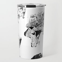 world map black and white Travel Mug