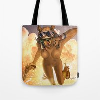 tank girl Tote Bags featuring Tank by PeppebBox