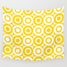Mid Century Square and Circle Pattern 541 Yellow Wall Tapestry