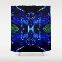 malachite Shower Curtains featuring Azurite - Malachite by Lucia