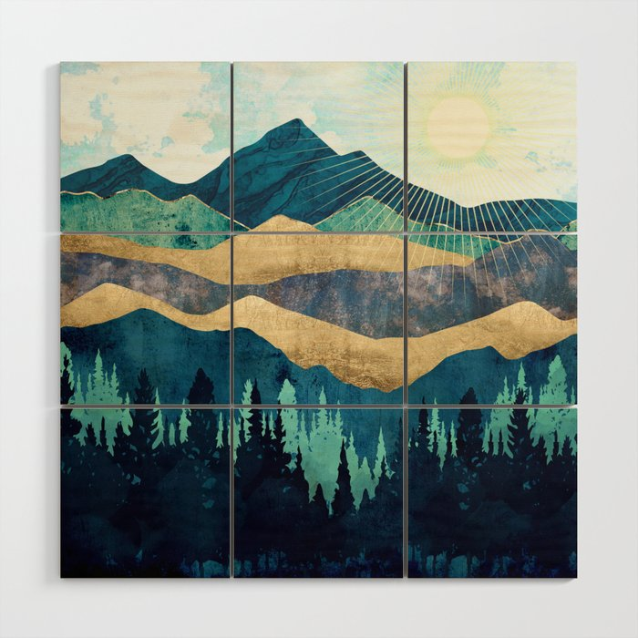 Blue Forest Wood Wall Art