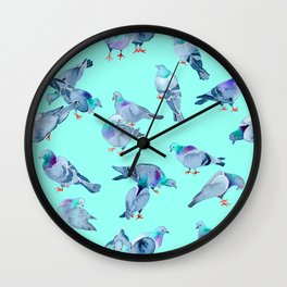 Flock of Pigeons (Blue) Wall Clock
