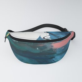 Breathe Through It: a vibrant abstract painting in blue pink and various colors by Alyssa Hamilton Fanny Pack