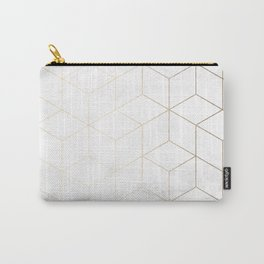 Gold Geometric White Mable Cubes Carry-All Pouch