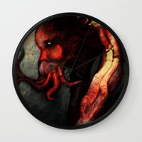 cthulu Wall Clocks featuring Are you there Cthulu? it's me... by Richard Bailey