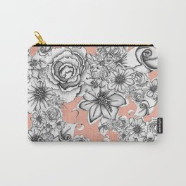 B&W Flowers Coral Carry-All Pouch