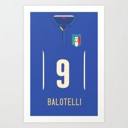 World Cup 2014 - Italy Balotelli Shirt Style Art Print