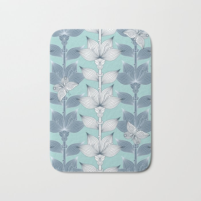 WHITE AND BLUE FLOWERS Bath Mat