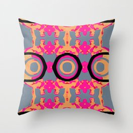 psychedelic graffiti skull head in pink and orange with grey background Throw Pillow