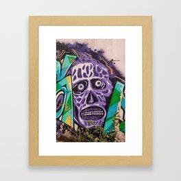 mural image of a zombie skull Framed Art Print