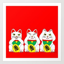 Three Wise Lucky Cats on Red Art Print